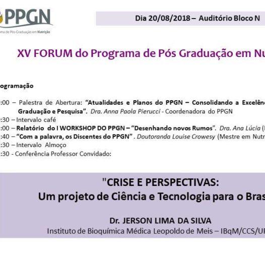 XV FORUM do Programa de Pós-Graduação em Nutrição – PPGN