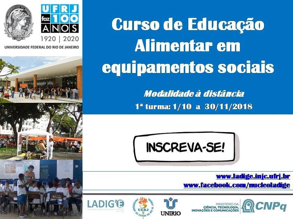 Curso de Educação Alimentar em equipamentos sociais (EaD) – Inscrições até 30 de setembro