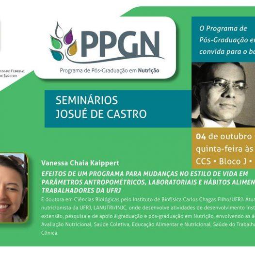 Seminários Josué de Castro: Efeitos de um programa para mudanças no estilo de vida em parâmetros antropométricos, laboratoriais e hábitos alimentares em trabalhadores da UFRJ