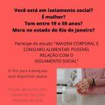 """Participação voluntária no estudo """"Imagem corporal e consumo alimentar: possível relação com o isolamento social"""""""