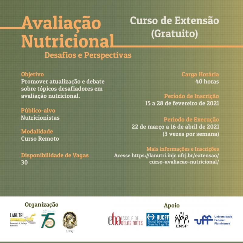 """Curso de Extensão """"Avaliação Nutricional: desafios e perspectivas""""."""