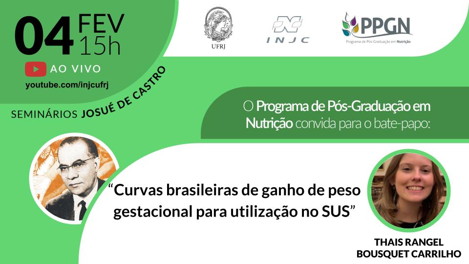 """Seminário: """"Curvas brasileiras de ganho de peso gestacional para utilização no SUS"""""""