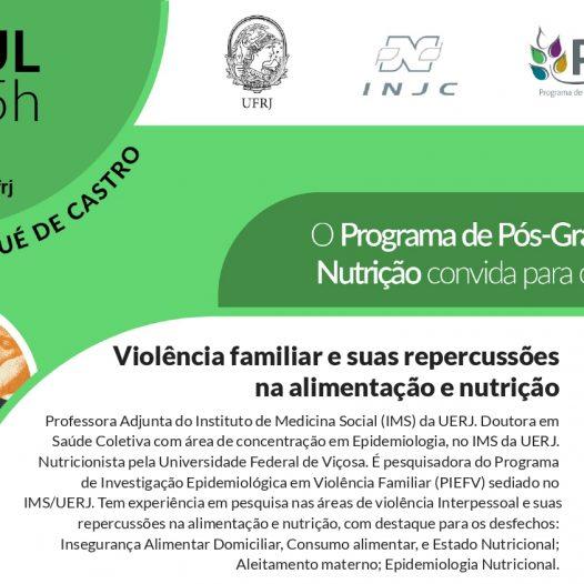 """Seminário: """"Violência familiar e suas repercussões na alimentação e nutrição"""""""