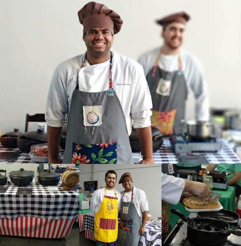 Alunos do curso de Gastronomia participando da feira gastronômica e cultural da UFRJ